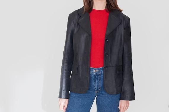 90's soft leather blazer jacket, black leather tai