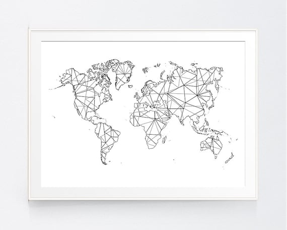 World Map Geometric, Origami Zen Japanese, Black White Map World, Wall  Poster Decor, Minimal Moder Decor, Wall Art, INSTANT DOWNLOAD
