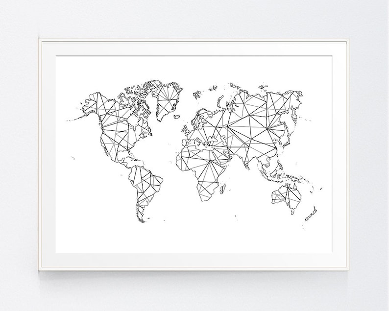 World Map Geometric Origami Zen Japanese Black White Map | Etsy