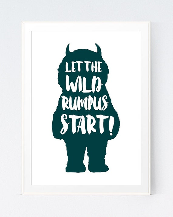 photo about Let the Wild Rumpus Start Printable identify Where by the Wild Elements Are Dim Teal Print, Nursery \