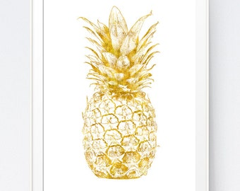 Gold Pineapple, Gold Pineapple Print, Home Decor Pineapple, Gold Wall Art, Gold Summer Printable, Pineapple Art, Gold Wall Print, Minimalist