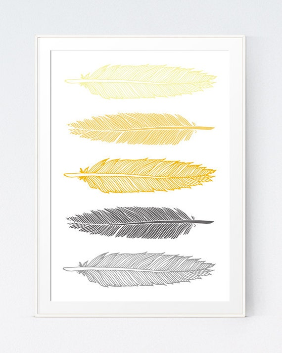 Grey Gray Yellow Feather Print Mustard and Gray Feather Art   Etsy
