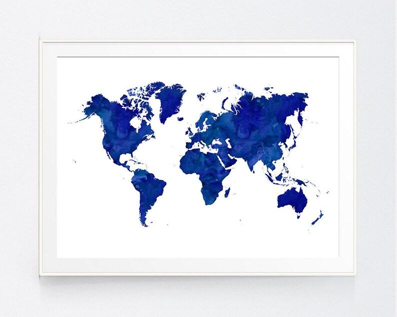 Dark Blue World Map Navy World Map Print Blue World Map Etsy