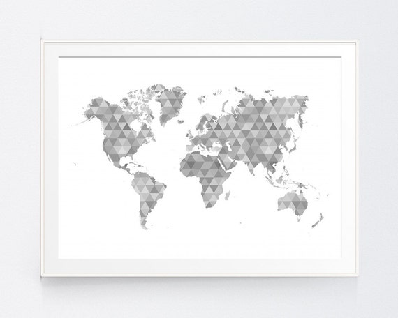 Shadows of Grey Geometric World Map Black and White World Map | Etsy