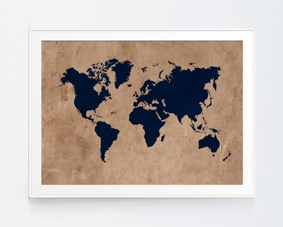 Vintage Style Rustic World Map Print Wall Art Navy Map Etsy