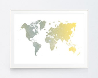 Yellow world map art etsy yellow grey world map poster art print gold and grey instant download printable decor digital art print 4x6 5x7 8x10 instant download gumiabroncs Choice Image