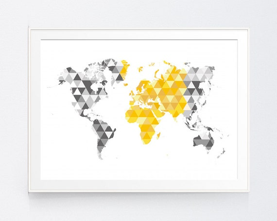 Yellow gray world map print mustard and grey world map wall gumiabroncs Image collections