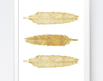 Gold Feather Feathers, Gold Feathers Print, Home Decor Feathers, Gold Wall Art, Gold Summer Printable, Feathers Art, INSTANT DOWNLOAD