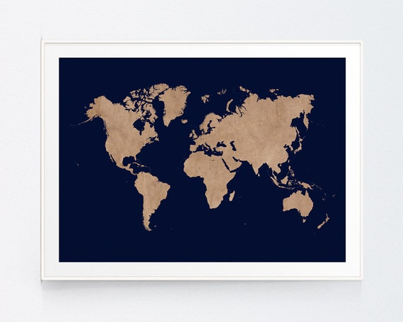 Vintage Beig World Map With Navy Background Earthy Decor Wall Etsy