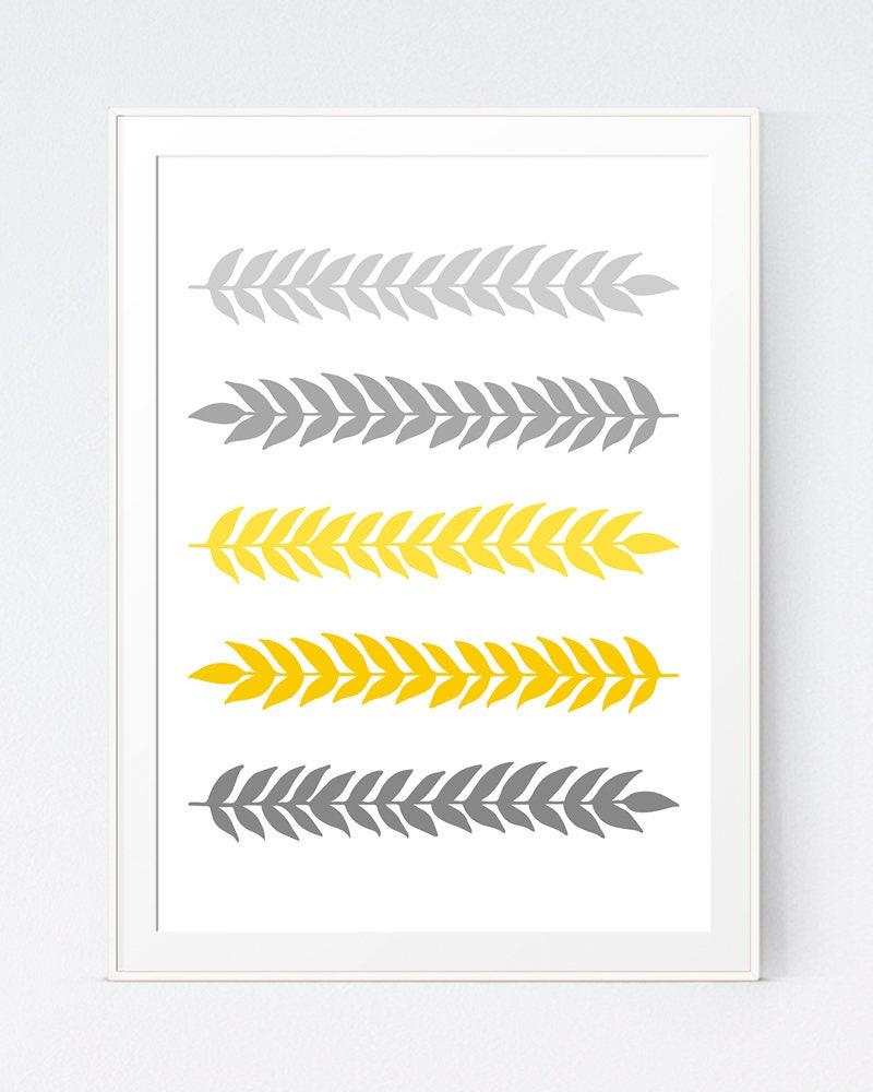 Grey Gray Yellow Leaves Print Mustard and Gray Branch Art   Etsy