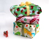 Children's Gift Wrap Set of 3, Fabric Reusable Gift Wrapping