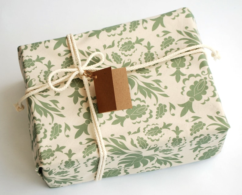 Reusable Cotton Gift Wrap Quiet Damask print zero waste plastic free gift wrapping