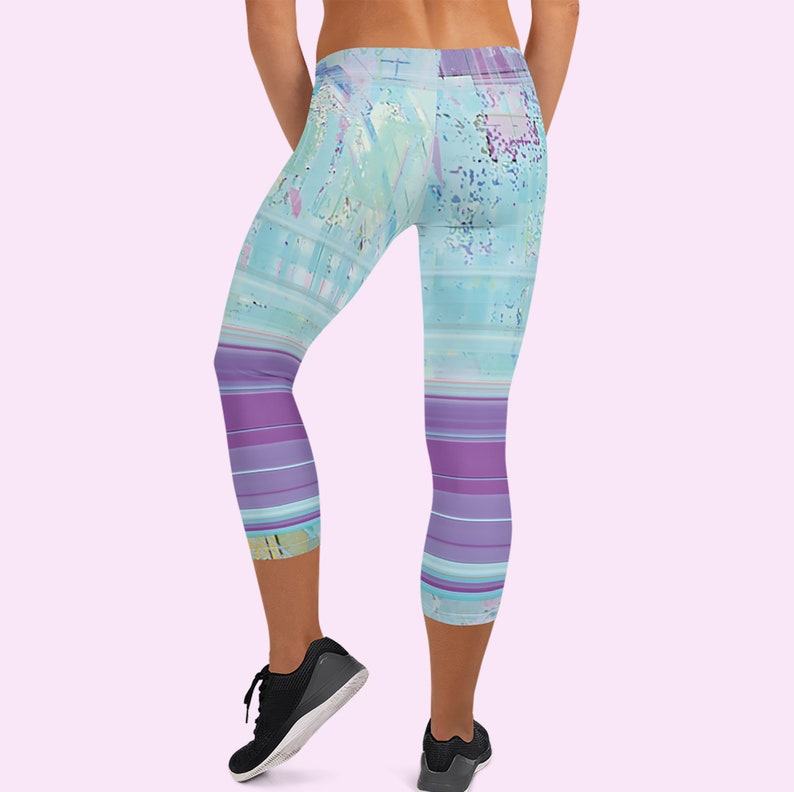 Everyday or party Striped Capri Leggings vaporwave aesthetic leggings Aqua Pastel leggings Space grunge Glitch capri leggings