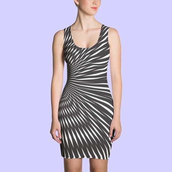 Optical Illusion Dress. Op art dress. Bodycon. Geometric warp. Bold print. Statement dress. Event dress. Monochrome. Hip and tummy room