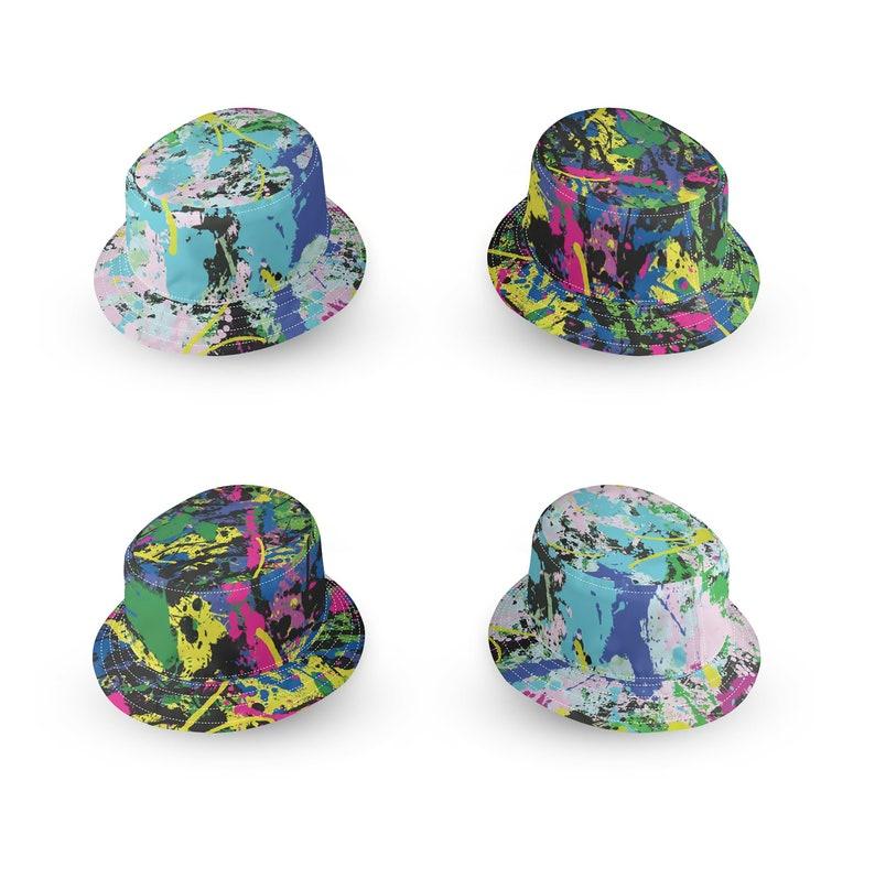 1ef909f26 Bucket Hat. Paint splatter. Streetwear, 90s Hip hop aesthetic. Stone Roses  John Squire 90s aesthetic and Jackson Pollock style. art school