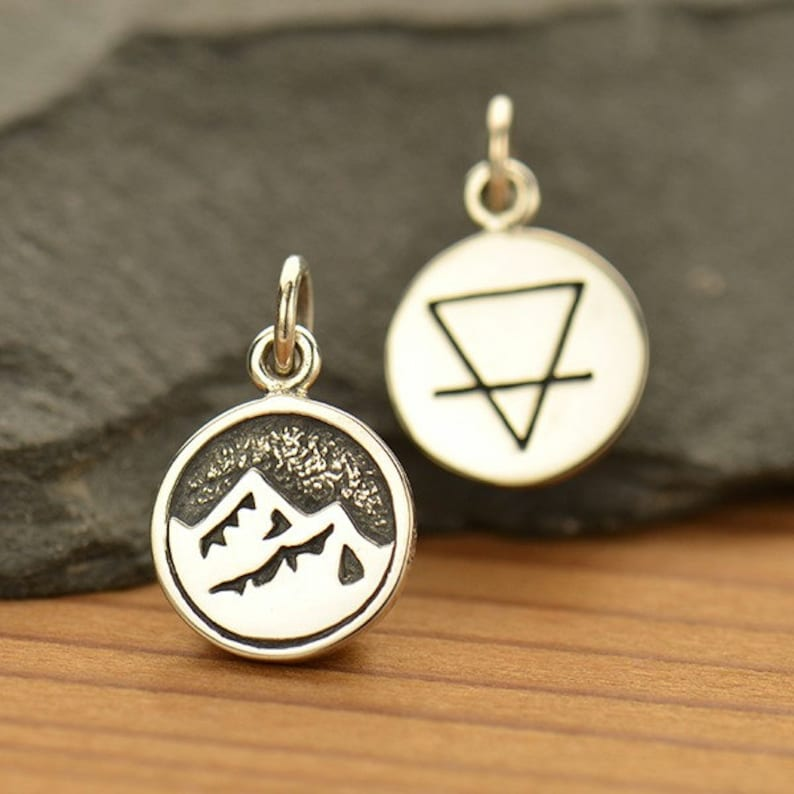 1 pc Sterling Silver 4 Elements: Earth Charm  Double Sided image 0