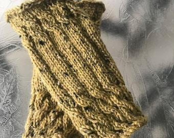 Hand knit ladies olive green 100% wool fingerless gloves