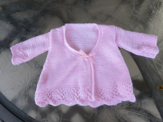 25d890134 Hand knit pale pink baby girl matinee coat cardigan