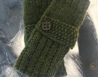 Hand knit  ladies green fingerless gloves with matching buttons