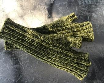 Hand knit  ladies lime green 100% wool fingerless gloves