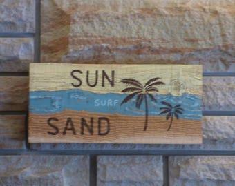 """Cedar Wood Sign Hand Painted  """"SUN, SURF,SAND"""" Cabin decor  Wall decor Beach Palm trees"""