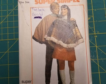 97a4555d52ad87 Vintage Simplicity 8969  1970 Super Simple Poncho Pattern His and Hers  Pre-Cut Free Shipping