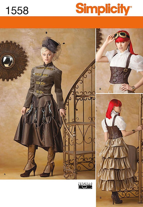 Steampunk Dress Corset Plus Size Simplicity 1558 Sewing Pattern by Theresa  LaQuey Size US 14-22 Talla Euro40-48 Taille Fr 42-50 UnCut