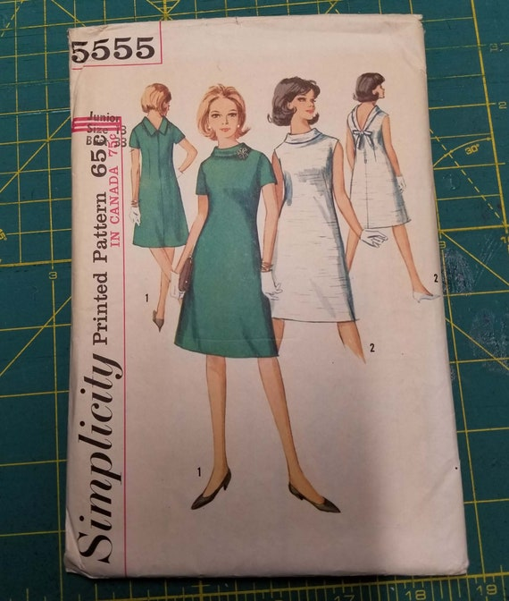 Simplicity 5555 @1964 A Line Dress Pattern Junior Size 13 Bust 33 Sewing Pattern Pre Cut Free Shipping