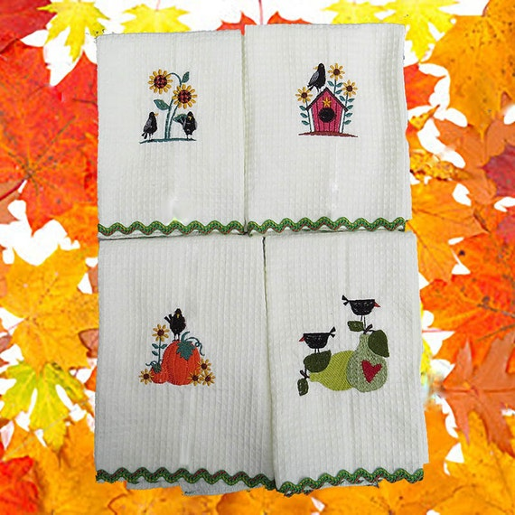 4 Prim Fall Harvest Crows Embroidered Kitchen Tea Towels