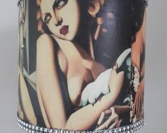 Vintage Art Deco Ladies Lampshade & Stick  Base - Small
