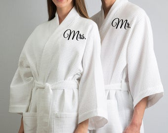 00d7e559a0 His and Hers Robes Bride and Groom Gift Full Length Robes Of Set Wedding  Robes Waffle Robes Anniversary Gift Couples Robes Spa Waffle Robes