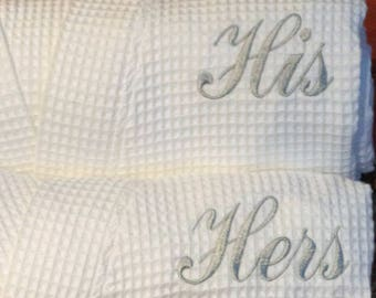 His and Her Robes Set of 2 Robes Wedding Gift Anniversary Gift Wedding  Robes Personalized Robes Monogram Robes Spa Robe Waffle Robes Kimono 3c73c2461