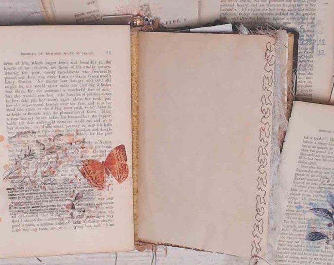 Flowers and Butterflies Vintage Book Pages, Junk Journal Supplies, Ephemera