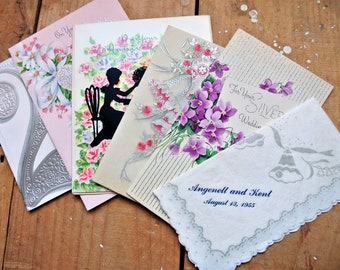 Vintage 25th Anniversary Greeting Cards, Junk Journal Inserts, Junk Journal Ephemera, Junk Journal Supplies