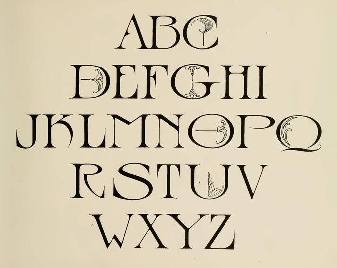 Alphabet, Script, Strong's Book of Designs - Part 3, Junk Journal Kit, Digital Download