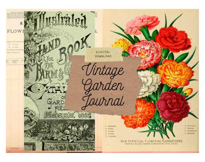 Vintage Garden Journal | Printable | Digital Junk Journal Kit | Instant Download
