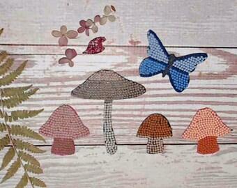 Beaded Ephemera Pack, Mushrooms and Butterfly, Junk Journal Set of 5