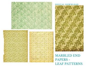 Vintage End Papers | Leaf Patterns, Digital Download, Junk Journal Printable