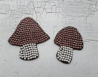 Beaded Mushrooms, Ephemera Pack, Junk Journal, Set of 2