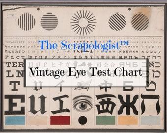 Vintage Eye Test Chart, Journal Ephemera, Digital Download collage sheet