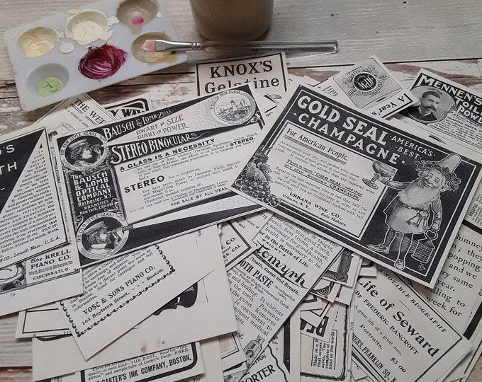 Vintage Advertising, Junk Journal Ephemera, Collage Kit, printed and mailed to you