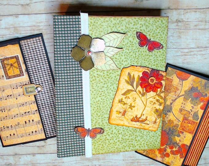 Garden Album, Nature Mini Album, Scrapbook Album, butterflies & dragonflies