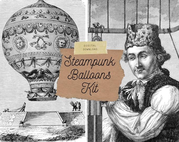 Steampunk Hot Air Balloons, Junk Journal Kit, Digital Download