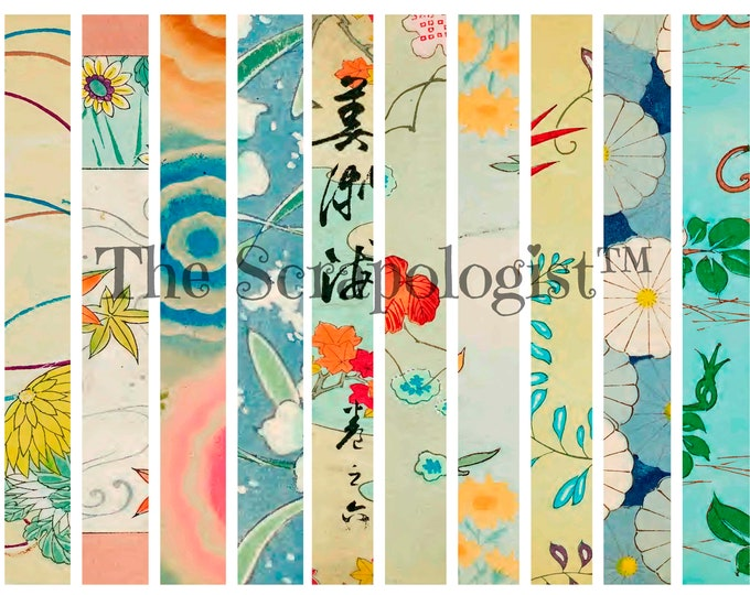 Antique Japanese Washi Tape - Kit 2, Digital Download, collage papers
