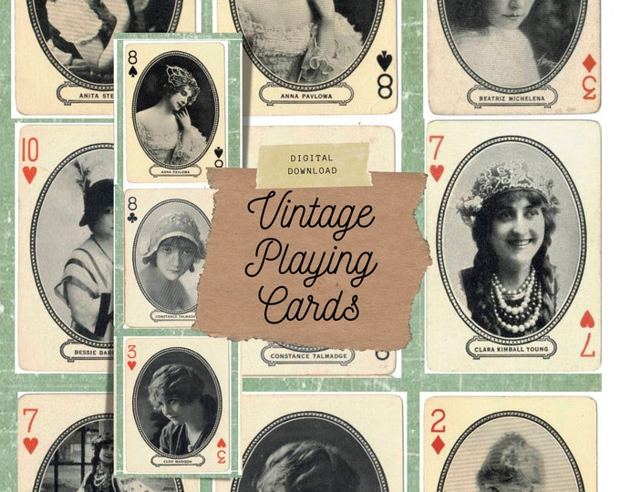Vintage Playing Cards, Hollywood, Junk Journal Collage Kit, Digital Print