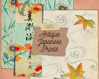 Antique Japanese Prints - Kit 1, Junk Journal Collage Kit | Digital Print