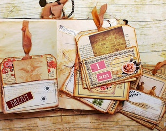 Library Pockets from Vintage Book Pages, Journal Inserts, Ephemera Pack, Junk Journal Supplies