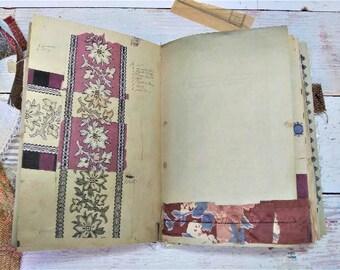 Vintage French Textile Samples, Junk Journal Kit, Digital Print