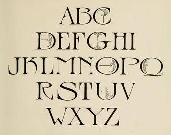 Alphabet Script, Junk Journal Kit, Digital Download