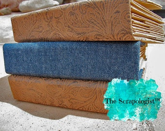 Blank Handmade Mini Album - Faux Leather or Denim Spine - You Decorate it, Do it Yourself Scrapbook, Craft Kit